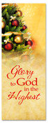 3x8 church banner of decorated Christmas tree - Glory to God in the Highest