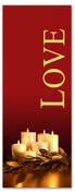 Love - gold and red 3x8 Christmas church banner