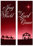 Red nativity scene Christmas banner set for church