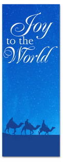 Blue nativity scene Christmas church banner - 3x8 Joy to the World