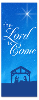 Blue nativity scene Christmas church banner - 3x8 Lord is Come