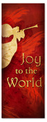 3x8 Red Christmas banner - Trumpeting Angel Joy to World