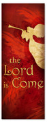 3x8 Red Christmas banner - Trumpeting Angel Lord is Come