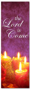 2x6 Fabric or Vinyl Christian Christmas banner - Lord is Come (purple)