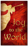 red Christmas banner with trumpeting angel - 4x6