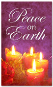 Peace on Earth Christian holiday banner - 4x6 purple and red