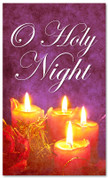 O Holy Night Christian Christmas banner - 4x6 purple and red with candles
