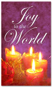 Purple Joy to the World 4x6 Christmas holiday banner with candles