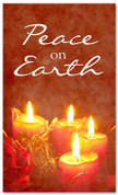 Peace on Earth Christmas holiday banner - red candles 4x6
