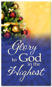 Decorated Christmas tree banner - Glory to God in the Highest 4x6