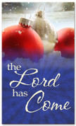4x6 red and white Christmas ornaments in snow banner - Lord has Come