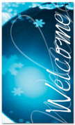 Winter Season Welcome banner - 4x6 blue frost snowflakes
