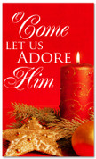 4x6 Red Christmas themed Banner - come let us adore him
