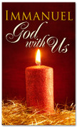 4x6 Christmas themed banner red flickering candle - God with us