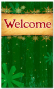 4x6 Green & Gold Christmas themed Welcome banner