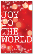 Red Bokeh Christmas banner with snowflakes - Joy to the world