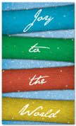 Colorful ribbons in light snow - 4x6 Banner for Christmas season