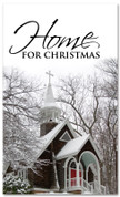 Home for Christmas - winter banner of snow covered church