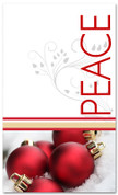 Red ornaments and white 4x6 Peace Christmas banner