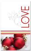 Red and white 4x6 Love Christmas banner with ornaments