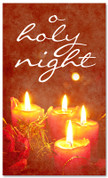 4x6 Red Christmas banner with candles - o holy night