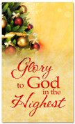 4x6 Decorated Christmas tree banner - Glory to God in the highest