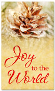 Frosted pine cone Christmas church banner - Joy to the world