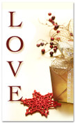 Christmassy church banner - love in red and gold colors