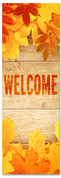 Welcome - orange autumn leaves on wood panels banner