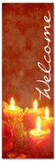 red Welcome banner with candles for Christmas season