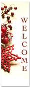 Welcome - red holly berry Christmas banner