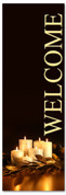 Welcome - black and gold Christmas banner with candles