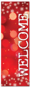 Welcome - red banner for Christmas with stars & snowflakes