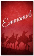 Red 3x5 wisemen Christmas banner - Emmanuel
