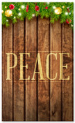 3x5 Peace Christmas banner for Christian church - wood board background