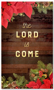"3x5 Christmas garland banner that says ""The Lord is Come"" for Christian church"