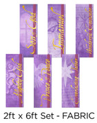 Purple Fabric Christmas banner set of 6