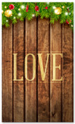 Christmas lights on wood church banner that says love