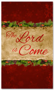 3x5 Lord is Come red church banner design for Xmas