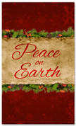 Peace on Earth - red Christmas 3x5 church banner design