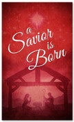 Savior Born red manger Christmas banner design