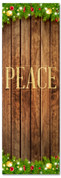 Peace church banner with wooden background and Christmas lights