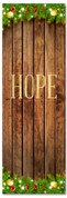 Hope Christmas church banner with wooden background