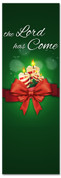 The Lord is Come Candles Christmas church banner in green