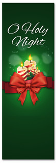 O holy night Christmas church banner - green with candles