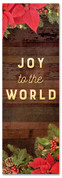 2x6 Joy to the World church banner with Christmas garland