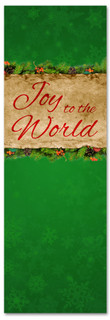 Joy to the World Green church Christmas banner
