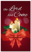 3x5 candles church banner for Christmas - The Lord has Come