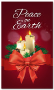 3x5 Christmas church banner with candles - Peace on Earth