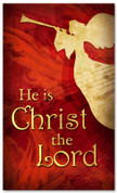 Red 3x5 Christmas banner for church - He is Christ the Lord